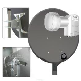 100cm SAT ANTENNE + Quad 0,1dB LNB FULLHD OPTICUM SCHÜSSEL Spiegel in Anthrazit 3D HDTV NEU - 1
