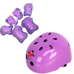 1Set (7) Rollerskaten Safeguard Knie Pads Elbow Pads Wrister Armschienen Sicherheit Helm Sport Unterstützung Pads schutzausrüstungen für Kinder/Kinder Roller Skate Skateboard Fahrrad BMX Bike (lila), violett - 1