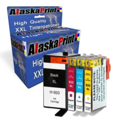 4x Druckerpatronen kompatibel für hp 920xl 920 xl für HP Officejet 6000 6500 7000 7500 7500A 6500A Plus E709 Tinte Drucker Patrone mit Chip und Füllstandsanzeige (1x Schwarz, 1x Cayan, 1x Magenta, 1x Yellow) - 1