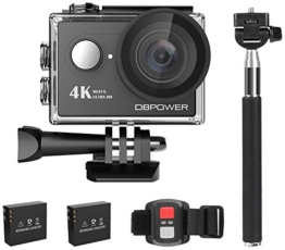 Action Cam, DBPOWER 4K Sports Action Kamera WIFI 2.0 Zoll FHD LCD Display Wasserdicht Helmkamera mit 2 Verbesserten Batterien und Zubehör Kits(Black) - 1
