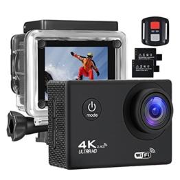 Action Kamera 4K 16MP Sports Cam - BUIEJDOG Ultra Full HD WIFI Action Camera 170 ° Weitwinkel 30 Meter Unterwasserkamera Wasserdicht mit 2 1050mAh Akkus und 18pcs Zubehör Kits - 1