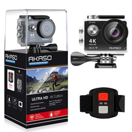 AKASO Action Cam Sport Action Camera 4K 170° Ultra Weitwinkel Full HD Kamera mit 12MP WIFI Funktion Wasserdichte Kamera 2 Zoll LCD Bildschirm 2.4G Fernbedienung zum auslösen 19 Zubehör Kits (Schwarz) - 1