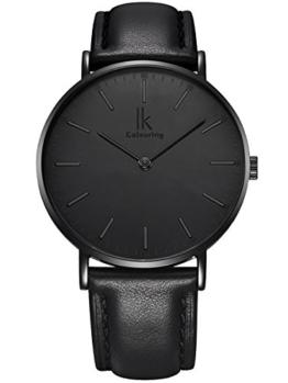 Alienwork IK All Black Quarz Armbanduhr Ultra-flach Uhr Damen Uhren Herren Zeitloses Design Leder schwarz 98469L-03 - 1