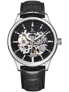 Alienwork IK mechanische Automatik Armbanduhr Skelett Automatikuhr Uhr Herren Uhren modisch Design Leder schwarz 98543G-01 - 1