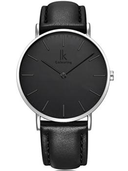 Alienwork IK Quarz Armbanduhr Ultra-flach Uhr Damen Uhren Herren Zeitloses Design Leder schwarz 98469L-01 - 1