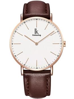 Alienwork IK Quarz Armbanduhr Ultra-flach Uhr Herren Uhren Damen Zeitloses Design Leder weiss braun U04816G-06 - 1