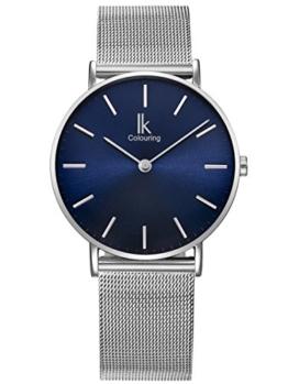 Alienwork Navy Blue Quarz Armbanduhr Ultra-flach Uhr Damen Uhren Herren Zeitloses Design Metall blau silber 98469NBG-L-05 - 1