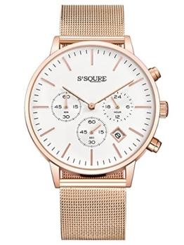 Alienwork Quarz Armbanduhr Multi-funktion Uhr Damen Uhren Herren Zeitloses Design Metall weiss rose gold S002GA1-G-03 - 1