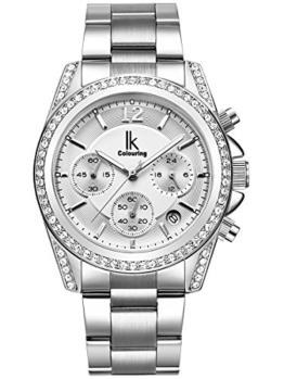 Alienwork Quarz Armbanduhr Multi-funktion Uhr Damen Uhren Mädchen Strass Metall weiss silber K001GA-02 - 1