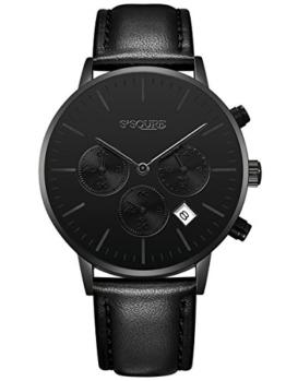 Alienwork Quarz Armbanduhr Multi-funktion Uhr Herren Uhren Damen Zeitloses Design Leder schwarz S002GA1-P-01 - 1