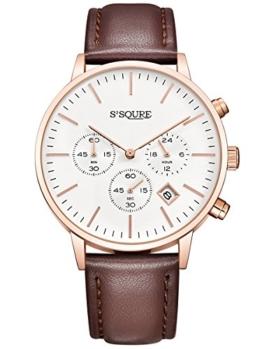 Alienwork Quarz Armbanduhr Multi-funktion Uhr Herren Uhren Damen Zeitloses Design Leder weiss braun S002GA1-P-03 - 1