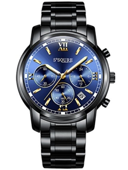 Alienwork Quarz Armbanduhr Multi-funktion Uhr Herren Uhren sport Design Edelstahl blau schwarz S001GA1-G-03 - 1