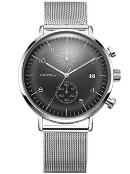 Alienwork Quarz Armbanduhr Multi-funktion Uhr Herren Uhren sport Design Metall grau silber S9710G-01 - 1