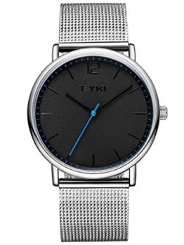 Alienwork Quarz Armbanduhr Ultra-flach Uhr Herren Uhren Damen Zeitloses Design Metall schwarz silber YH.D5001L-02 - 1