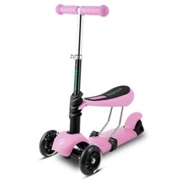 Ancheer 3-in-1 Kleinkinder-Scooter | 3 Räder Mini Kick Scooter mit abnehmbarem Sitz, LED blinkt Räder und verstellbare Lenker für für Babys, Kleinkind und Jüngere Kinder,geeigneter Alter:3-8 - 1