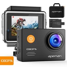 Apeman A70 Aktion und Sport Kamera mit 2 1050mAh Akkus und Accessoires (14 MP, 1080P FULL HD, WiFi, 30 m wasserdicht) - 1