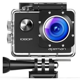 APEMAN Action Cam 1080P Full HD Unterwasser Aktion kamera wasserdicht Helmkamera 170 ° Weitwinkel mit Zubehör Kits - 1