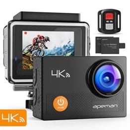 APEMAN Action Cam 4K WIFI Camera Ultra Full HD Unterwasser Kamera Helmkamera Wasserdicht mit 2.4G Fernbedienung 2 verbesserten Akkus und Montage Zubehör Kit - 1