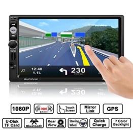 Autoradio, CATUO 7 Zoll GPS Auto-Spieler HD 1080P Touchscreen MP5 Player mit Mirrorlink /GPS Navigation Unterstützung Freisprechfunktion/ AM/FM/RDS/RADIO/BLUETOOTH/USB/TF/AUX IN/ Ausgabe - 1