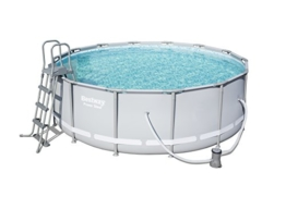 Bestway Power Steel Pool Set, 15.232 L, grau, 427 x 427 x 122 cm - 1
