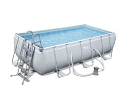 Bestway Power Steel Rectangular Frame Pool Set, hellgrau, mit Filterpumpe + Zubehör, 404 X 201 X 100cm - 1