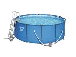 Bestway Steel Pro Max Stahlrahmenpool-Set mit Filterpumpe und Zubehör, 10250 L, blau, 366 x 366 x 122 cm - 1