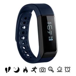 Bluetooth Fitness Tracker, OMorc Sport Armband I5 Plus SmartWatch OLED Uhr Aktivitätstracker smart bracelet mit Schlafmonitor, Schrittzähler, Kalorienzähler, SMS Anrufe Reminder für iPhone Samsung iOS und Android Smartphones – Blau - 1