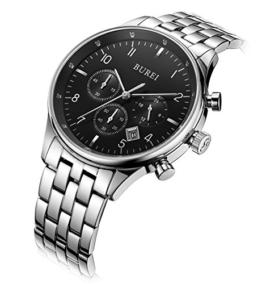 BUREI Chronograph Datumsanzeige kratzfestes Saphirglas Objektiv Multifunktions-Stoppuhr Uhr Armbanduhr für Herren - 1