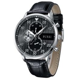 BUREI Chronograph Herren Armbanduhr Großes Ziffernblatt schwarz Herren Uhr Gross mit Datumsanzeige und Kalbslederband Geschenke für Herren (schwarz) - 1
