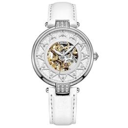 BUREI Damen Automatik Uhr mit Silber Gold Saphir Objektiv und Echte weiß Leder Band - 1