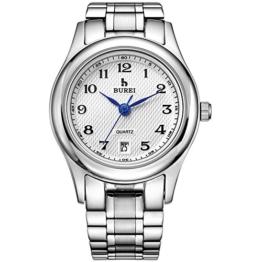 Burei Damen Handgelenk Quarz Uhren mit weißem Zifferblatt Metall Band - 1