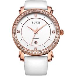 BUREI Damen Quarz Armbanduhr Swarovski Kristalle Rose Gold Lederband weiß - 1