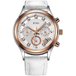 BUREI Diamanten Damenuhr Chronograph Frauen Armbanduhr mit weiße Echtleder Armbanduhr und roségoldenem Uhrengehäuse Geschenke für Frauen - 1