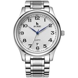 BUREI Edelstahl Armband Uhr Analog für Herren mit Metallarmband in Silber - 1