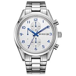 BUREI Edelstahl Chronograph Herren Uhren Saphirglas Herrenuhr mit Datumsanzeige und Blau Zahlen und Zeiger - 1