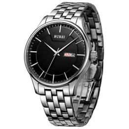 BUREI Edelstahl Herren uhr Tag Datumsanzeige Armbanduhr mit silberner Zeiger und schwarzem Großes Zifferblatt Geschenke für Männer - 1
