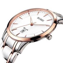 BUREI Elegante Frauen Uhr im Slimdesign in Rose Gold und Saphirglas mit Edelstahlarmband - 1