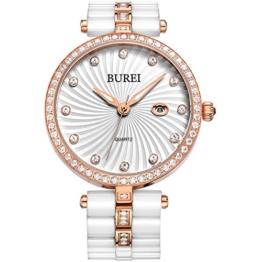 Burei Elegante Keramik Quarzuhr mit eingefassten Diamanten Rahmen und auf dem Ziffernblatt und Weißen Armband - 1