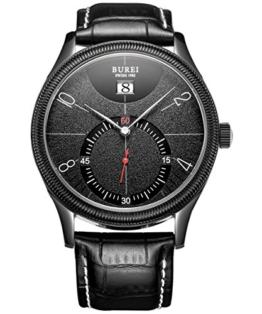 BUREI Herren All Black Quarz Armbanduhr elegant einfach Design Uhr klassisch Lederband schwarz - 1