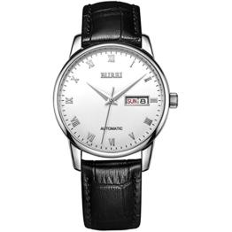 Burei® Herren Armbanduhr Automatikuhr Tag und Datumsanzeige Wasserdicht Armbanduhr mit Schwarz Rindsleder Leder Gurt (Weiß) - 1