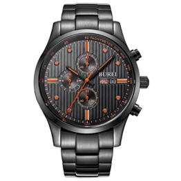 BUREI Herren Armbanduhr Chronographen Multi-funktion schwarzes Zifferblatt Armbanduhr mit Tag Datum Kalender Saphirglaslinse und Edelstahl Armband - 1