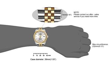 Burei Herren Automatik Armbanduhr kratzfest Syn. Saphir Objektiv mit Datum Golden Zifferblatt und zwei Tones Edelstahl Band (Silver) - 2