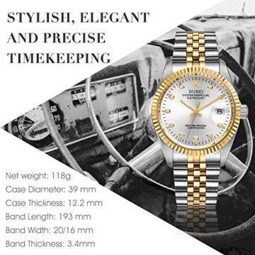 Burei Herren Automatik Armbanduhr kratzfest Syn. Saphir Objektiv mit Datum Golden Zifferblatt und zwei Tones Edelstahl Band (Silver) - 3