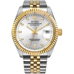 Burei Herren Automatik Armbanduhr kratzfest Syn. Saphir Objektiv mit Datum Golden Zifferblatt und zwei Tones Edelstahl Band (Silver) - 1