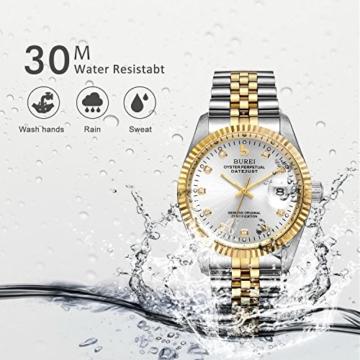 Burei Herren Automatik Armbanduhr kratzfest Syn. Saphir Objektiv mit Datum Golden Zifferblatt und zwei Tones Edelstahl Band (Silver) - 4