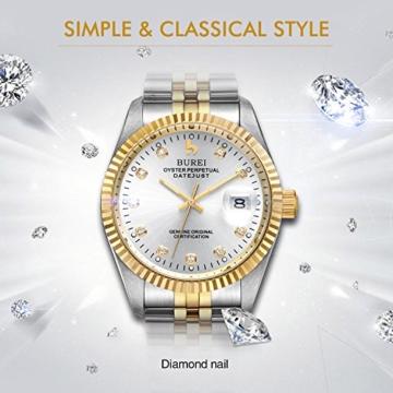 Burei Herren Automatik Armbanduhr kratzfest Syn. Saphir Objektiv mit Datum Golden Zifferblatt und zwei Tones Edelstahl Band (Silver) - 5