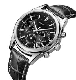 BUREI Herren Business Casual Analoge Quarz Armbanduhr Chronograph Stoppuhr mit Schwarzem Zifferblatt und Echtes Lederband - 1