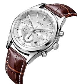 BUREI Herren Einfaches Classic Quarz Armbanduhr Chronograph mit Weißem Zifferblatt Datum Kalender und Braun Echtes Lederband - 1