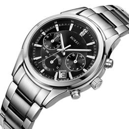 BUREI Herren Fashion Quarz Armbanduhr Chronograph Multi-funktion mit Schwarzem Zifferblatt Datumsanzeige und Edelstahl Armband - 1