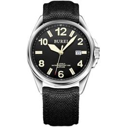 Burei® Herren-Militäruhr Automatische Automatikuhr Datumsanzeige Mechanische Armbanduhr mit Leinwand-Riemen (Schwarz) - 1